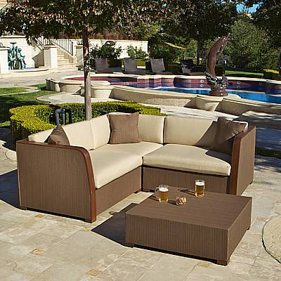 Superieur Luxe 4 Pc Modular L Shaped Sling Sofa With Coffee Table